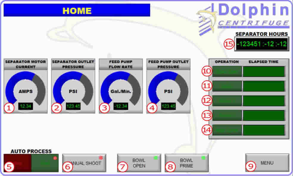 Industrial Centrifuge Controls Screen